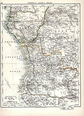 1904 Map ~ Central Africa West (North West Africa On Reverse)