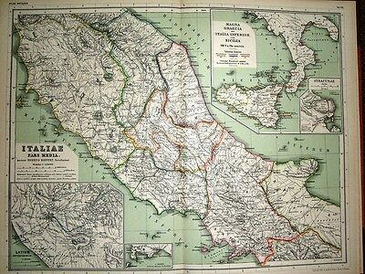 1892 Map ~ Italy Central & Southern With Sicily Naples Syracuse Pars Media