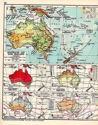 Australia New Zealand Map.Map Australia New Zealand Physical Rainfall Pressure Winds Etc