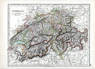 1897 VICTORIAN MAP ~ SWITZERLAND ~ A SUPERB MAP by W & A K JOHNSTON