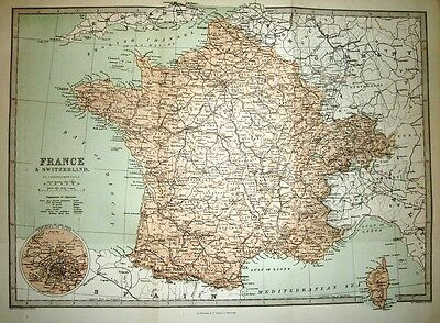 1877 VICTORIAN MAP ~ FRANCE & SWITZERLAND 17 inches X 12.5 inches EXCELLENT MAP