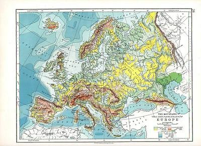 1897 Victorian Map ~ Europe Physical The Mountains Table Lands Plains & Valleys