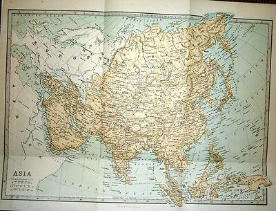 1877 VICTORIAN MAP ~ ASIA ~ 17 inches X 12.5 inches