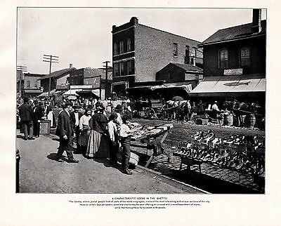 1898 Print Chicago ~ Jewish Ghetto ~ Market Traders People Stalls Horse And Cart