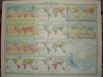 1920 LARGE MAP ~ WORLD CLIMATE ~ 23 INCHES x 18