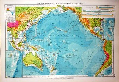 1927 Large Mercantile Marine Map ~ Pacific Ocean ~ Cables & Wireless Station