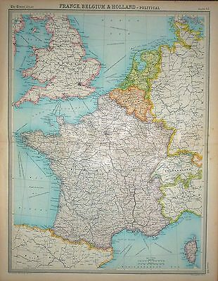 "1920 LARGE MAP ~ FRANCE BELGIUM & HOLLAND ~ POLITICAL ~ 23"" x 18"""