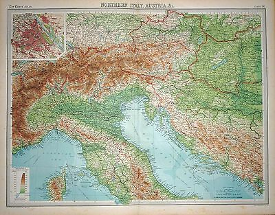 "1920 LARGE MAP ~ NORTHERN ITALY AUSTRIA ~ ENVIRONS VIENNA~ 23"" x 18"""