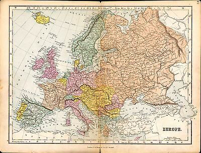 1887 Map ~ Europe ~ Russia France Sweden Germany Austria Italy Etc