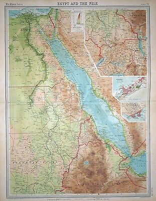 """1920 LARGE MAP ~ EGYPT & THE NILE INSET ALEXANDRIA & AIDEN ~ 23"""" x 18"""""""