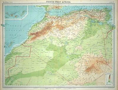 """1920 LARGE MAP ~ NORTH-WEST AFRICA ~ WITH CANARY ISLANDS ~ 23"""" x 18"""""""