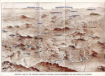 1900 Boer War Print ~ Map ~ Area  Covered By Bullers Ops Relief Of Ladysmith