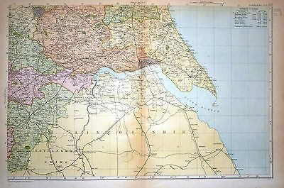 1899 LARGE VICTORIAN COUNTY MAP ~ YORKSHIRE SOUTH EAST ~ POPULATION RAILWAY etc