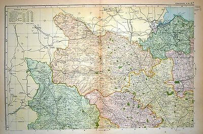 1899 Large Victorian County Map Yorkshire North West Northallerton Ripon Thirsk