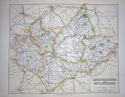 1901 Large Victorian County Map ~ Leicestershire & Rutlandshire Bosworth Melton