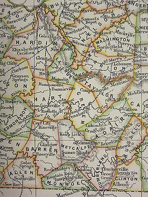 1897 Large Antique Map ~ Kentucky ~ Tennessee United States