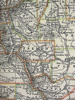 1897 Large Antique Map ~ United States ~ Colorado ~ New Mexico Railroads