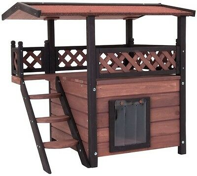 LUXURY Outdoor Cat Wooden Maisonette Pet Home Kennel Shelter Den Garden House