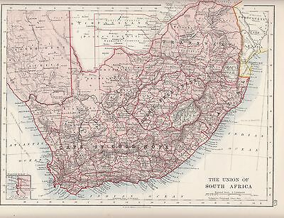 1921 MAP ~ Union Of South Africa ~ Cape Of Good Hope Orange ...