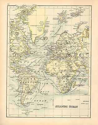 c1900 VICTORIAN MAP ~ ATLANTIC OCEAN ~ STEAMER ROUTES ~ EUROPE AMERICA GREENLAND