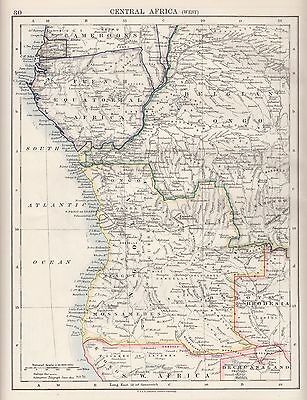 1921 Map ~ Central Africa West ~ French Belgian Congo Mossamedes