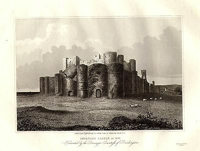 1835 Georgian Print ~ Pevensey Castle 1737 Dowager Countess Of Burlington Sussex
