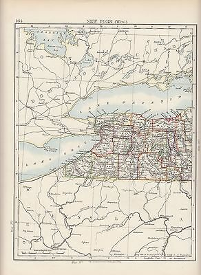 1897 Victorian Map ~ United States ~ New York State West ~ Oswego Ontario