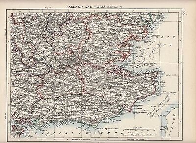 1897 Victorian Map ~ England & Wales Section 7 ~ Sussex London Kent Hertford Etc
