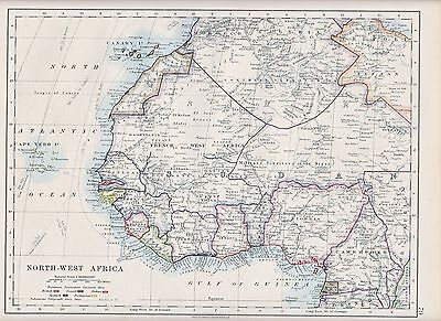 1931 Map ~ North-West Africa ~ Canary Islands Sudan European Possessions