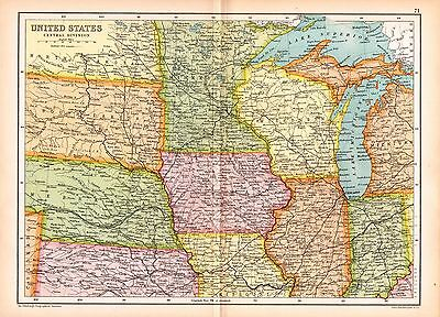1909 Map ~ United States Central Division ~ Wisconsin Kansas Minnesota