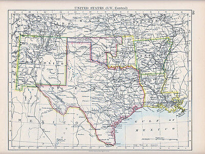 1894 Victorian Map ~ United States South West Central ~Texas New Mexico Arkansas