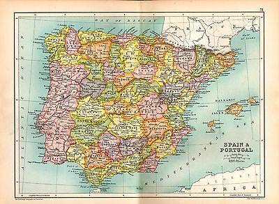 1909 Map ~ Spain & Portugal ~ Old Castle Andalusia Aragon Catalonia