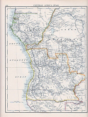 1894 Victorian Map ~ Central Africa West ~ Congo Free State French