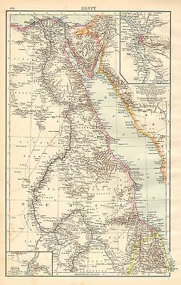 1895 Large Victorian Map ~ Egypt ~ Environs Of Cairo & Khartum