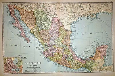 1894 Large Victorian Map ~ Mexico Environs Steam Routes Cables Sonora Chihuahua