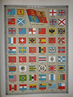 1909 Large Atlas Print ~ Flags Of All Nations ~ Admiralty Flag British Royal Etc