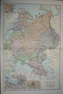 1900 Large Victorian Map ~ Russia ~ Environs St Petersburg Moscow Odessa