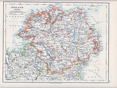 1912 Map ~ Ireland North ~  Tyrone Donegal Londonderry Down Etc