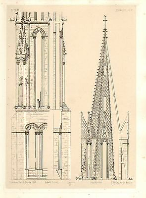 1858 Large Architecture Print ~ Senlis Cathedral Medieval Gothic Art Mediaeval