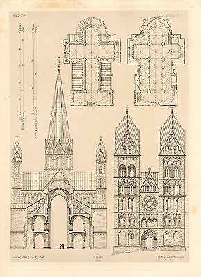 1858 Large Architecture Print ~ Limburg Cathedral Medieval Gothic Art Mediaeval