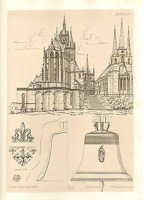 1858 Large Architecture Print ~ Erfurth Cathedral Medieval Gothic Art Mediaeval