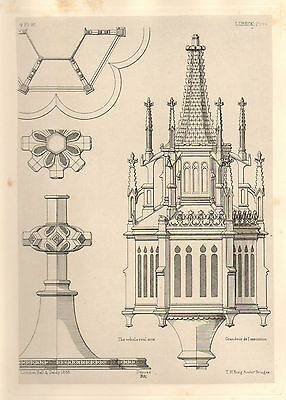 1858 Large Architecture Print ~ Lubeck Cathedral Medieval Gothic Art Mediaeval