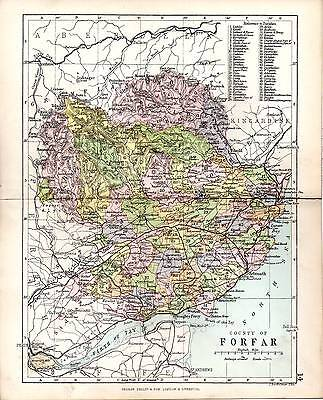 1890 Map ~ Counties Of Scotland ~ Forfar ~ Showing Parishes  Lochlee Fearn Dun