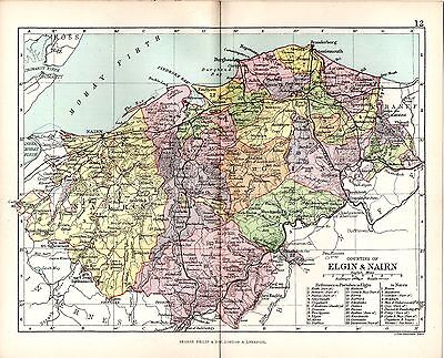 1890 Map ~ Counties Of Scotland ~ Elgin & Nairn ~ Showing Parishes Keith Boharm
