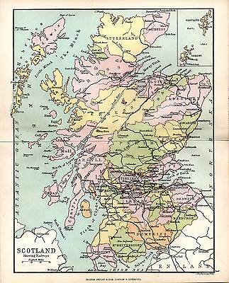 1890 Map ~ Counties Of Scotland ~ With Railways Inset Sheland Orkney