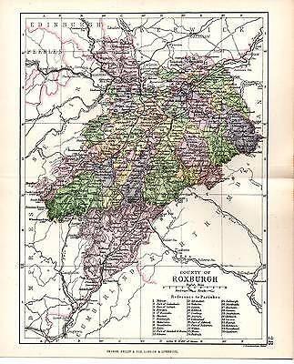 1890 Map ~ Counties Of Scotland ~ Roxburgh ~ Showing Parishes Melrose Bowden Etc