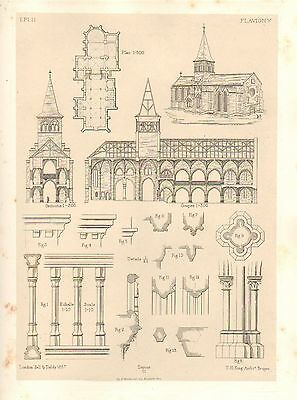 1857 Large Architecture Print ~ Flavigny Cathedral Medieval Gothic Art Mediaeval