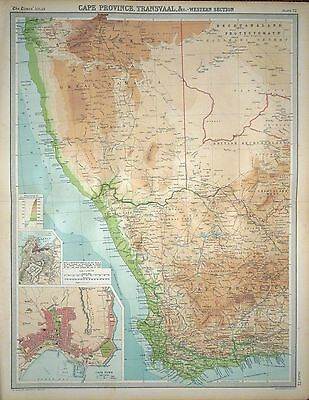 "1920 LARGE MAP ~ SOUTH AFRICA CAPE PROVINCE TRANSVAAL WESTERN SECTION 23"" x 18"""