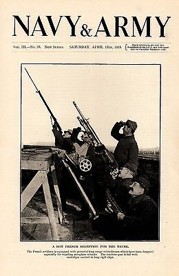 1915 Wwi ~ French Artillery Soldiers Firing Machine Gun Anti Aircraft
