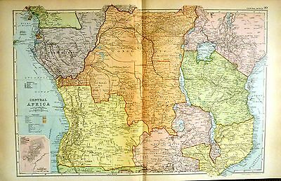 1899 Large Victorian Map ~ Central Africa ~ Plan Of Salisbury ~